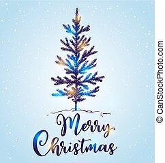 그어진, 나무, 눈, 크리스마스, 손