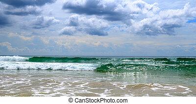 극적인, cloudscape, 와, 호우, 와..., 열대 폭풍우, 에, 그만큼, 수평선, 통하고 있는, 그만큼, coastline., 넓게, photo.