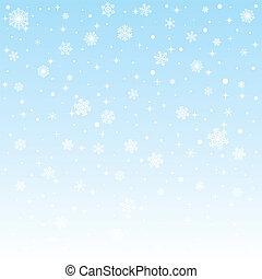 극한의, 크리스마스, 배경, 눈송이