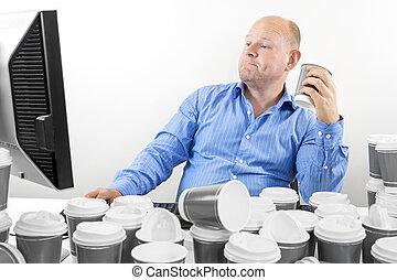 근면하다, 사업가, 은 마신다, 너무 많이, 커피