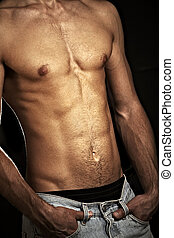 근육의, 남성, 몸통
