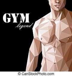 근육, 삽화, 남자, 아시아 사람, 또는, style., 스포츠, (fitness), low-polygonal, 포스터, 코카서스 사람, 전단, 자가 선전을 하다, 체조, 몸