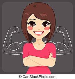 근육, 여자, 강한, sketched