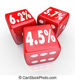 금리, 퍼센트, 수, 3, 빨강, 주사위, refinance, 빚, cred