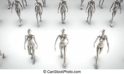 금속, 여자, 걷기