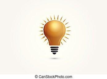 금의 빛, 상징, 생각, 창조, 벡터, 전구, logo.