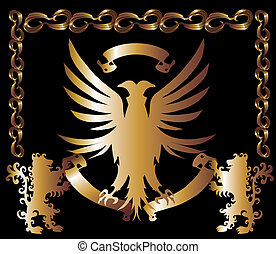 금, 독수리, 방패, 벡터, 예술
