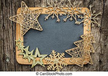 금, 크리스마스 나무 훈장, 통하고 있는, 포도 수확, 멍청한, 칠판