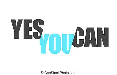 긍정적인, 메시지, 삽화, 디자인, 양철통, 예, 당신