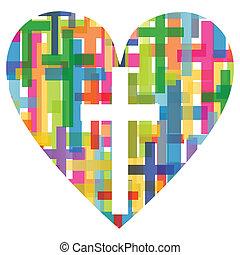 기독교, 종교, 십자가, 모자이크, 심장, 개념, 떼어내다, 배경, 삽화, 벡터, 치고는, 포스터