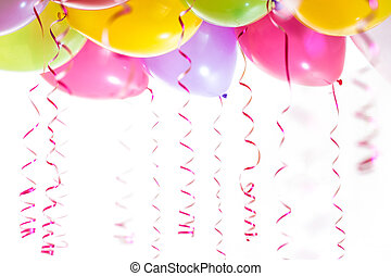 기드림, 고립된, 생일, 배경, 파티, 백색, 기구, 축하