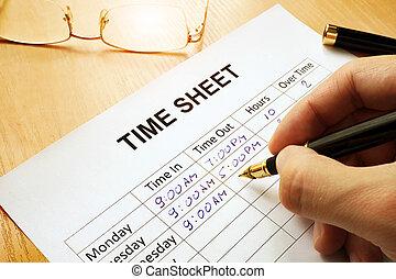 기록, 노동 시간, 에서, a, 시간, sheet.