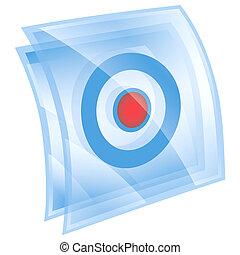기록, 아이콘, 파랑, 고립된, 백색 위에서, 배경.
