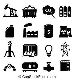 기름, 와..., 에너지, 아이콘, 세트