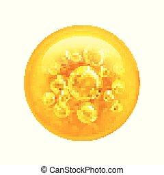 기름, bubble., 내부, 삽화, 큰, 벡터, 거품