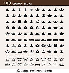 기본, 100, 세트, 왕관, 아이콘