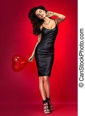 기쁜, 브루넷의 사람, 여자, 와, 심장, balloon.