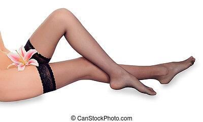 기쁜, 여성, 긴 다리, 에서, 까만 스타킹