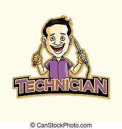 기술자, 로고, 삽화, 디자인