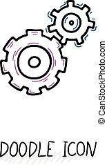 기술, 낙서, 팀, community., 그룹, gears., 역학, 아이콘