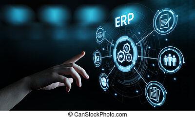 기업, 자원, 계획, erp, 단체의, 회사, 관리, 사업, 인터넷 기술, 개념