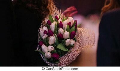 기이한, 한 쌍, 결혼한, restaurant., 각오가 되어 있는, 장식, 그들, 손님, 결혼식, fansy