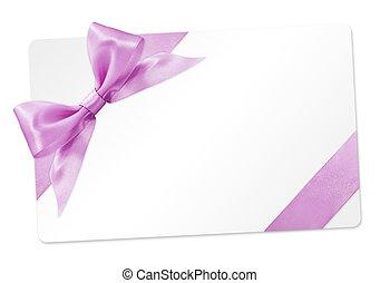 기증카드, 와, 분홍색 리본, 활, 고립된, 백색 위에서, 배경