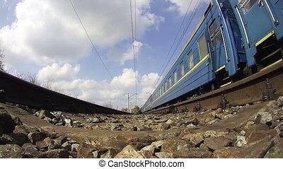 기차, 타는 것, 통하고 있는, 울타리