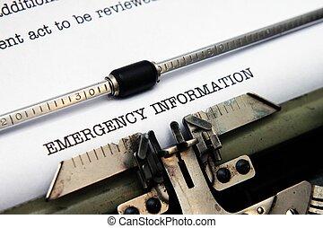 긴급 사태, 정보