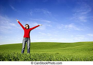 긴장을 풀고 있는 여성, 통하고 있는, a, 봄, 일