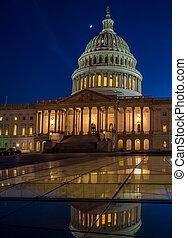 긴 노출, 그림, 의, 그만큼, 미국 미 국회의사당, 건물