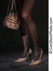 긴 다리, 에서, snakeskin, 구두, 와, 핸드백