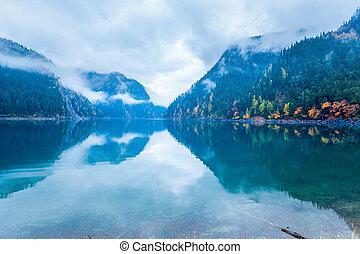 긴 호수, 에서, 가을, jiuzhaigou