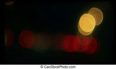 길, 색, lights., retro, 밤, 필름