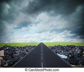 길, 치고는, a, 날씬한, environment., 극복되는, 그만큼, 세계, 오염, 문제