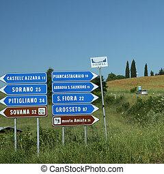 길, 표시, 에서, 그림 같은, tuscan, 시골, 이탈리아
