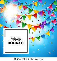 깃발천, 다채로운, 인사, 휴일, 카드, 행복하다