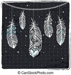 깃털, 유행, 삽화, 소수 민족의 사람