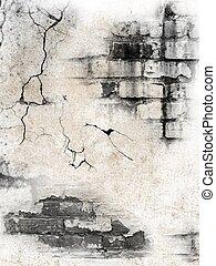 깨진, 벽돌 벽