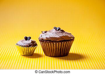 꼭대기, 초콜릿 과자, 벨벳, buttercream, 컵케이크