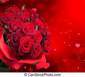 꽃다발, 빨강, 크게, 장미