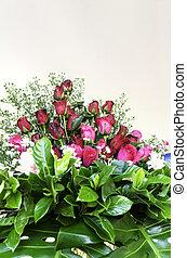 꽃다발, 의, 빨간 장미
