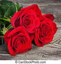 꽃다발, 의, 빨간 장미, 통하고 있는, 그만큼, 늙은, 은 난입한다