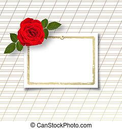 꽃다발, 의, 아름다운, 빨간 장미, 와, 그만큼, 초대, 또는, 축하, 통하고 있는, 그만큼, 백색, 종이