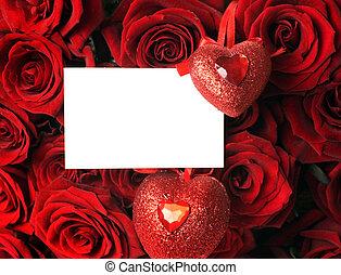 꽃다발, 크게, 공백, 카드, 장미