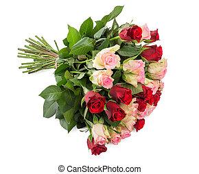 꽃다발, 크게, 백색, 고립된, 장미
