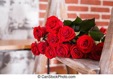꽃다발, 크게, 빨간 장미