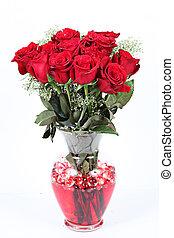 꽃병, 의, 빨간 장미, 치고는, 연인 날