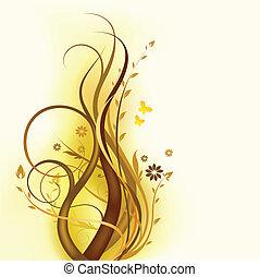 꽃의, 갈색의, 디자인