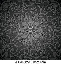 꽃의, 벽지, 왕다운, seamless